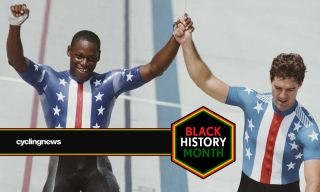 Nelson Vails celebrates with Mark Gorski after the sprint in the 1984 Olympic Games in Los Angeles