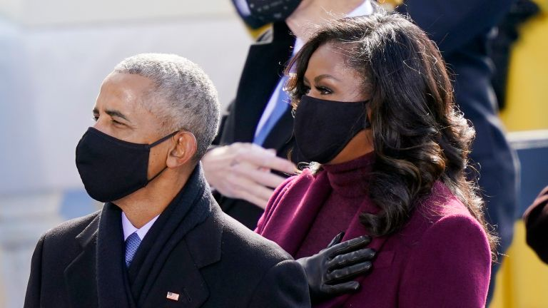 Barack and Michelle Obama at the inauguration of Joe Biden