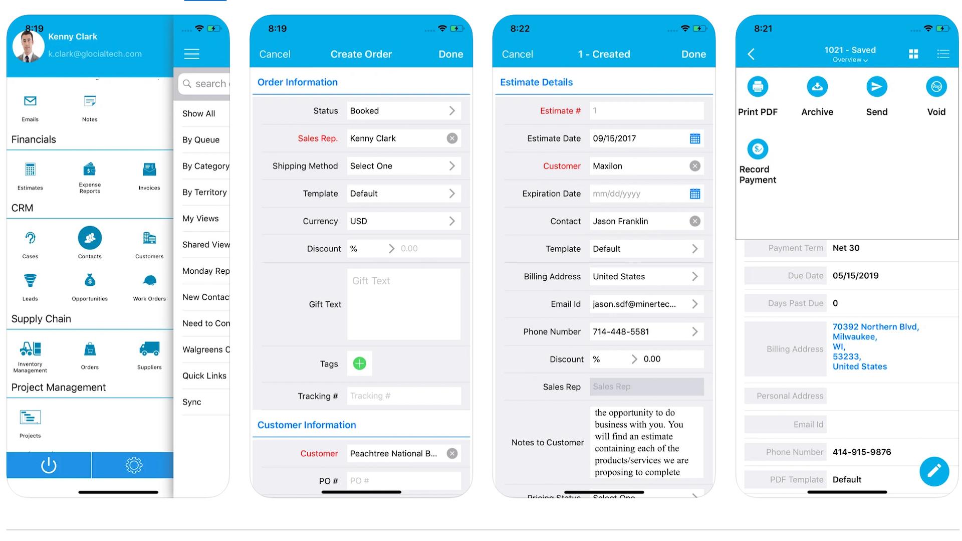 Apptivo's mobile app