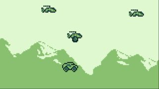 A pixelated tank bounces beneath three helicopters