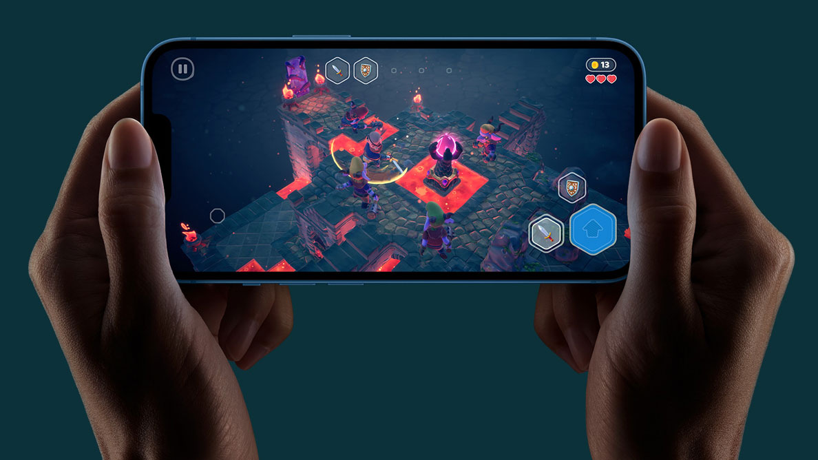 Phone held in landscape with two hands while playing a game