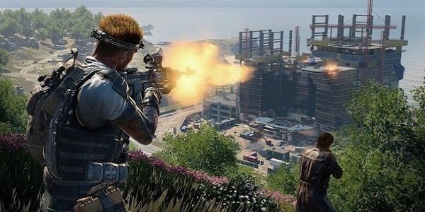 Call of Duty firing on a structure