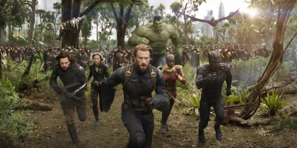Avengers and Hulk charging into battle in Infinity War