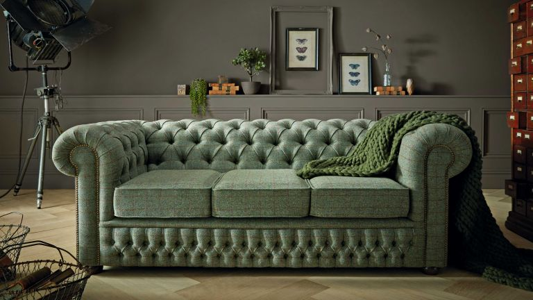 Sofas by Saxon Chesterfield three-seater sofa in Harris Tweed Mountain Bracken