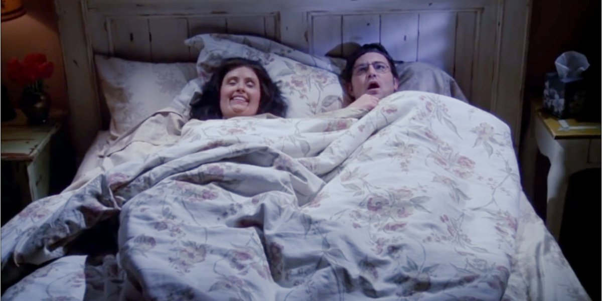 """Chandler and Monica in """"The One That Could Have Been"""" in Friends."""