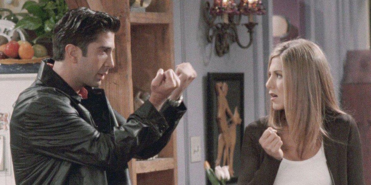 "David Schwimmer gives Jennifer Aniston the ""Friendly Finger"" on Friends"