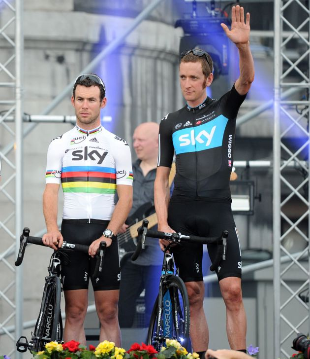 Mark Cavendish and Bradley Wiggins, Tour de France 2012 presentation