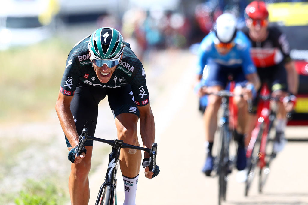 NMES FRANCE JULY 08 Nils Politt of Germany and Team BORA Hansgrohe attack in breakaway during the 108th Tour de France 2021 Stage 12 a 1594km stage from SaintPaulTroisChateaux to Nimes LeTour TDF2021 on July 08 2021 in Nmes France Photo by Michael SteeleGetty Images