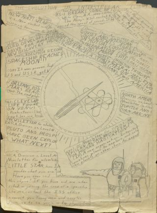 Spaceflight drawing by a young Carl Sagan
