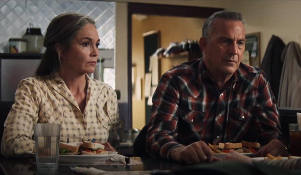 Diane Lane and Kevin Costner having a meal at the diner in Let Him Go.