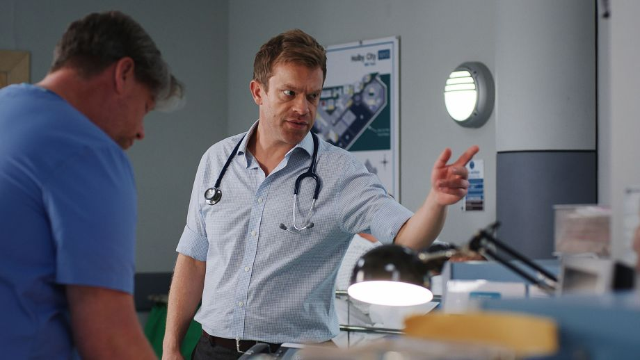 Acting clinical lead Dylan Keogh under pressure in Resus in Casualty
