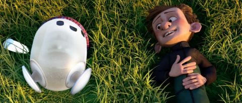B-bot and Barney laying in grass in Ron's Gone Wrong