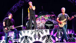 Bassist Wolfgang Van Halen, David Lee Roth, Drummer Alex Van Halen and Guitarist Eddie Van Halen of Van Halen perform at Perfect Vodka Amphitheatre in West Palm Beach, FL