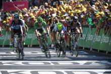 Peter Sagan throws his bike but Mark Cavendish gets the win