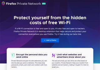 Firefox Private Network web page screen grab.