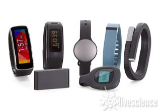 A group of fitness trackers