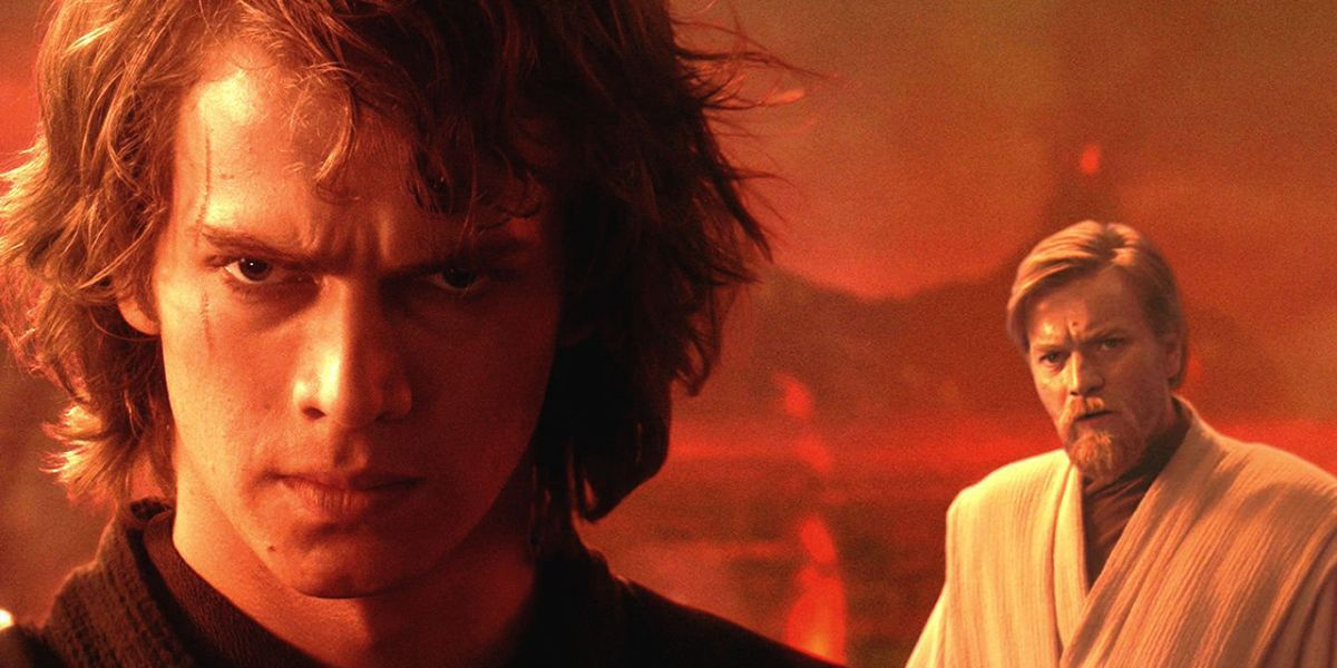 Anakin stands glaring into the camera as Obi-Wan stands behind him, looking concerned, in 'Star Wars Episode III: Revenge of the Sith'