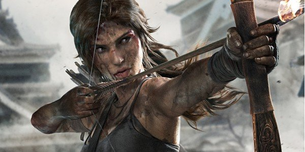 Lara fires flaming arrow Tomb Raider