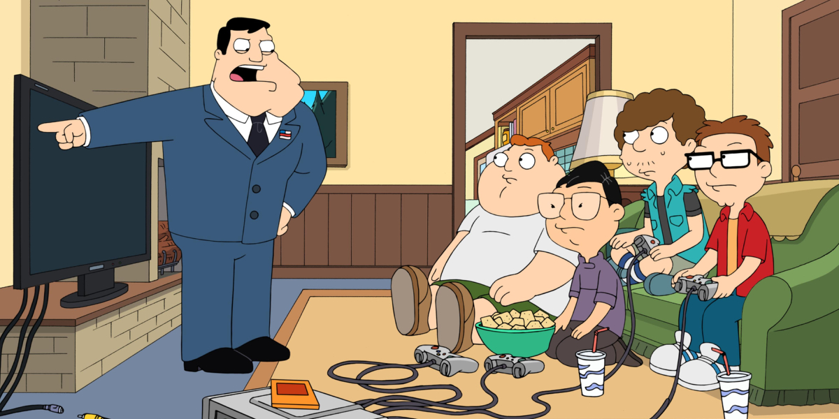 Stan Smith reprimands son, Steve, and his friends on American Dad!