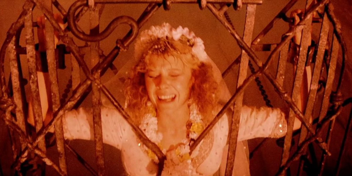 Kate Capshaw in peril in Indiana Jones and the Temple of Doom
