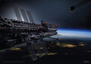 Leaders of a proposed space nation called Asgardia discussed the project at a news conference in Paris on Oct. 12, 2016. The team discussed the possibility of one day building a space station, like the one shown in this artist's rendition, which they rele