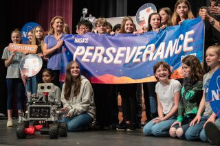 Thomas Zurbuchen, associate administrator of NASA's Science Mission Directorate, announces the official name of the Mars rover Perseverance, at Lake Braddock Secondary School in Burke, Virginia, on March 5, 2020.