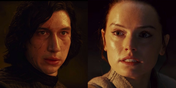 Rey and Kylo side by side from The Last Jedi