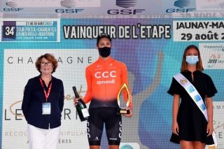 JAUNAYMARIGNY FRANCE AUGUST 29 Podium Josef Cerny of Czech Republic and CCC Team Celebration Trophy Flowers Hostess Miss Mask Covid safety measures during the 33rd Tour PoitouCharentes en Nouvelle Aquitaine 2020 Stage 3b a 225km Individual Time Trial from Futuroscope to JaunayMarigny ITT TourPoitouChtes on August 29 2020 in JaunayMarigny France Photo by Luc ClaessenGetty Images