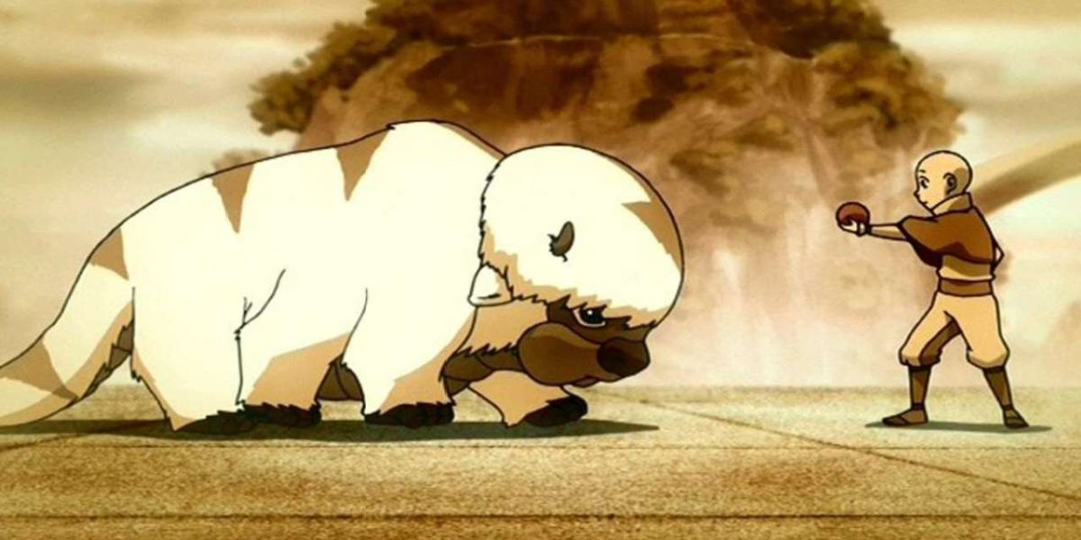 Aang and Appa in Avatar: The Last Airbender.