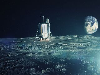 Artist's concept of the robotic Lunar Mission One touching down at the moon's south pole in 2024.
