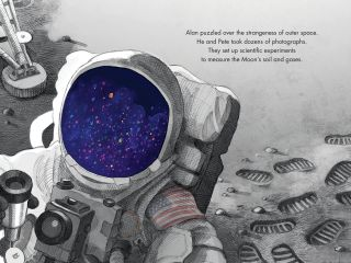 "Illustrations of ""The Astronaut Who Painted the Moon"" tell the story of Alan Bean's journey to the lunar surface."