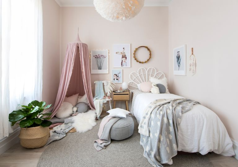 Modern girls bedroom idea with canopy