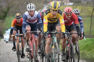 Belgian Wout Van Aert C of Team JumboVisma and Belgian Philippe Gilbert R of Lotto Soudal pictured in action during the mens elite race of the 75th edition of the oneday cycling race Omloop Het Nieuwsblad 200km from Merelbeke to Ninove Saturday 29 February 2020 BELGA PHOTO DAVID STOCKMAN Photo by DAVID STOCKMANBELGA MAGAFP via Getty Images