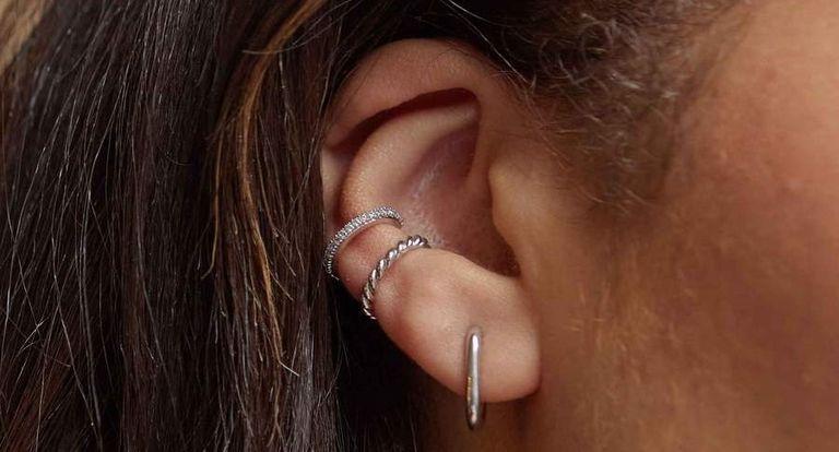 Astrid & Miyu Rectangular Silver Huggies Earrings