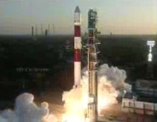 Indian Polar Satellite Launch Vehicle launches with seven satellites on Feb. 25, 2013.