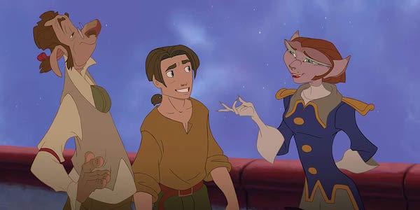 Doppler, Jim and Captain Amelia in Treasure Planet