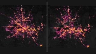 Image on the left shows nighttime light emissions data from Houston on Feb. 7, image on right shows blackout on Feb. 16