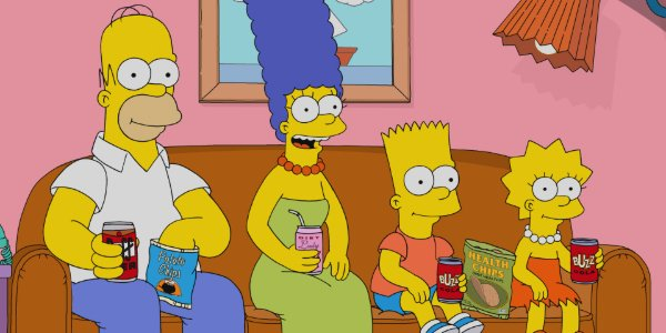 The Simpsons Homer, Marge, Bart, and Lisa sit on the couch, with drinks and snacks at the ready