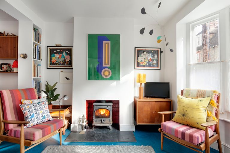 Mid-century living room with woodburner