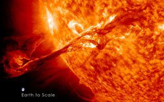 Giant Solar Prominence (Earth Comparison)