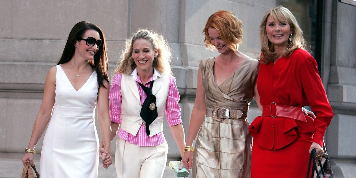 Kristin Davis, Sarah Jessica Parker, Cynthia Nixon and Kim Cattrall as Charlotte, Carrie, Miranda and Samantha in Sex and the City