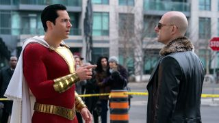 An image of Zachary Levi and Mark Strong in Shazam!