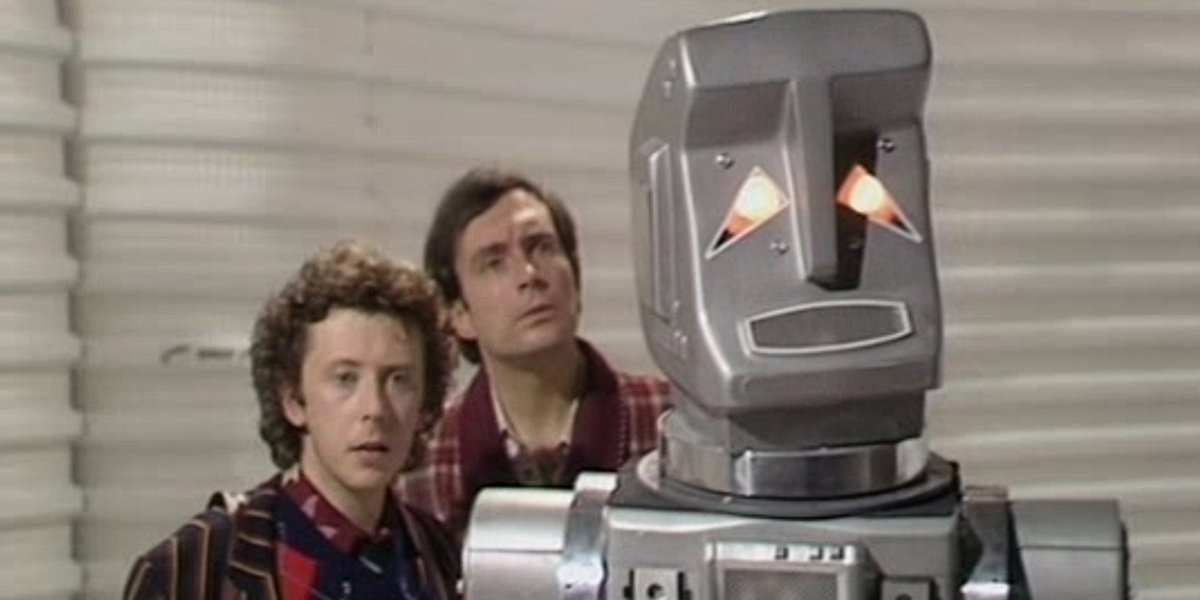 David Dixon, Simon Jones, and Stephen Moore in The Hitchhiker's Guide To The Galaxy