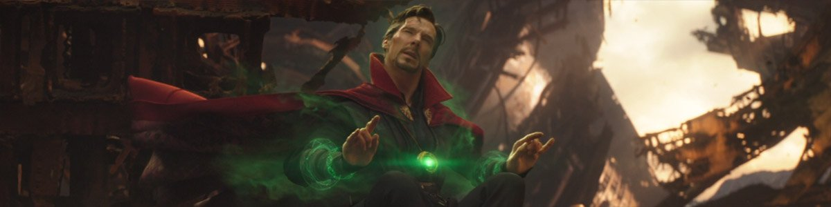 Doctor Strange (Benedict Cumberbatch) looks at possible futures in Avengers: Infinity War