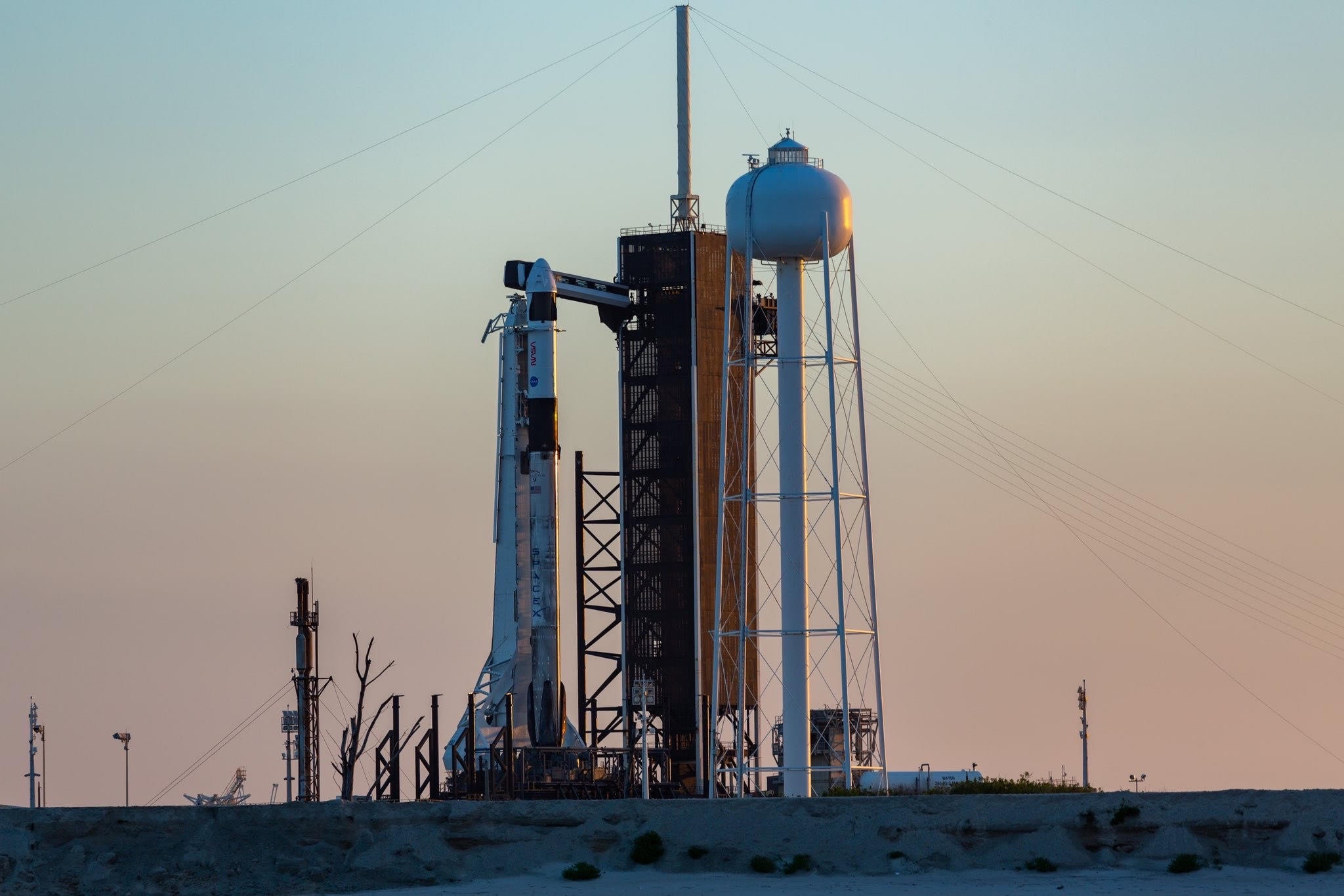 A SpaceX Falcon 9 rocket and Crew Dragon capsule on the launch pad at NASA's Kennedy Space Center in Florida ahead of the liftoff of the Crew-2 mission, which is scheduled to take place on April 23, 2021.