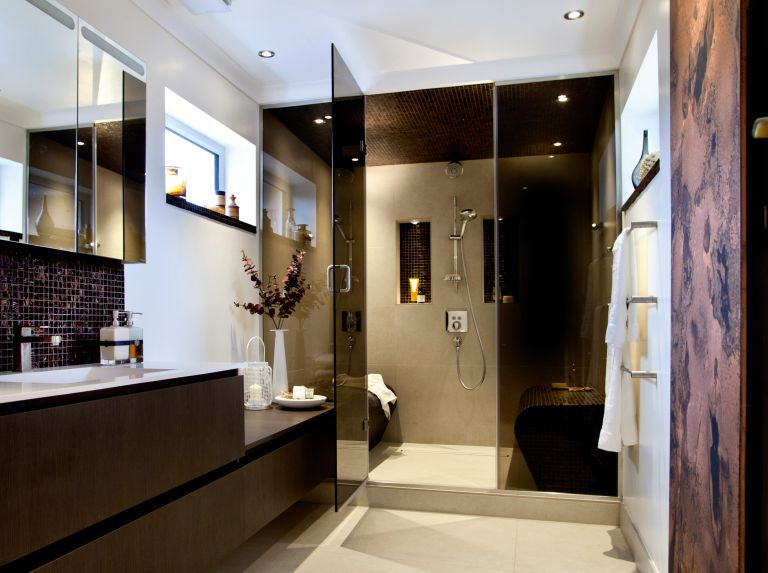 a steam room in a bathroom with luxury touches