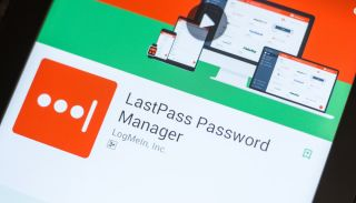 The Google Play app store page for the LastPass password manager on the screen of an Android phone.