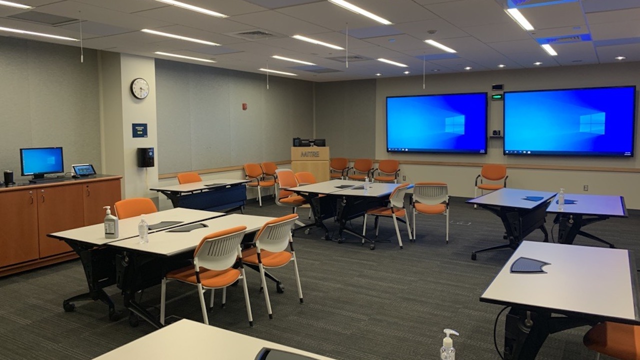A multipurpose space for collaboration and conferencing, in MITRE's Bedford, MA location.