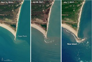 Satellite images reveal a new barrier island forming off the coast of Cape Hatteras National Seashore in North Carolina.