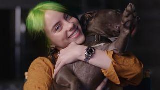 Billie Eilish's dog Shark being held by the singer